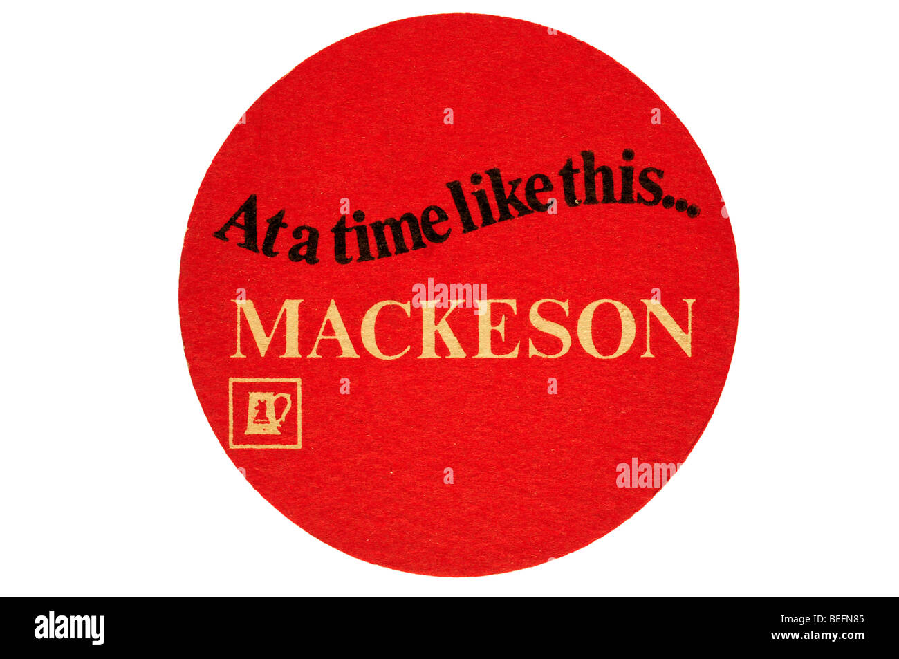 at a time like this mackeson beer mat - Stock Image