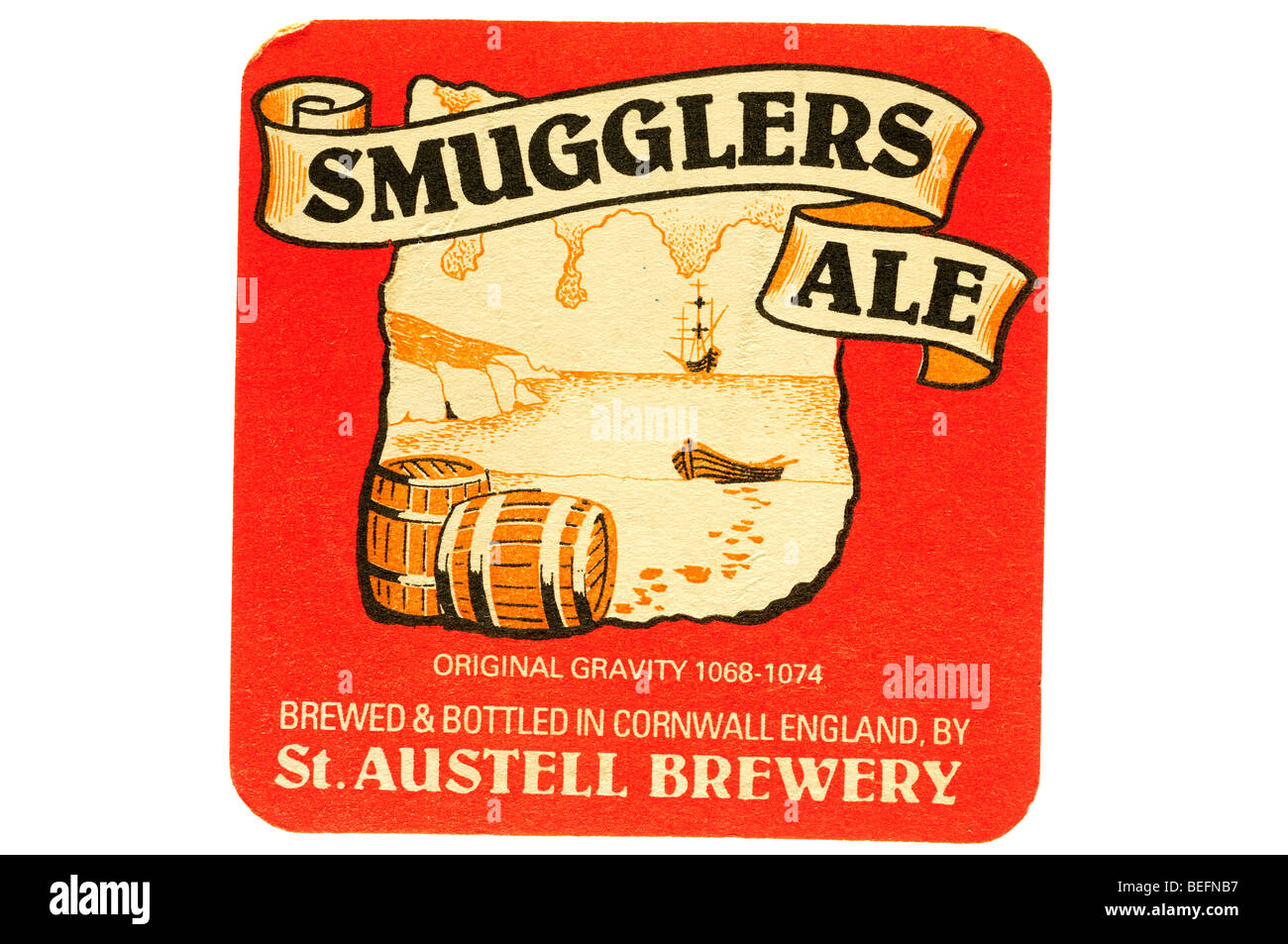 smugglers ale original gravity 1068 1074 brewed & bottled in cornwall england by st austell brewery - Stock Image