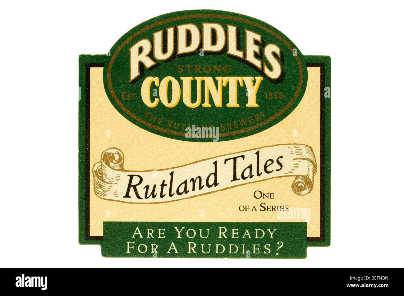 ruddles strong county the rutland brewery est 1858 rutland tales one of a series are you rady for a ruddles - Stock Image