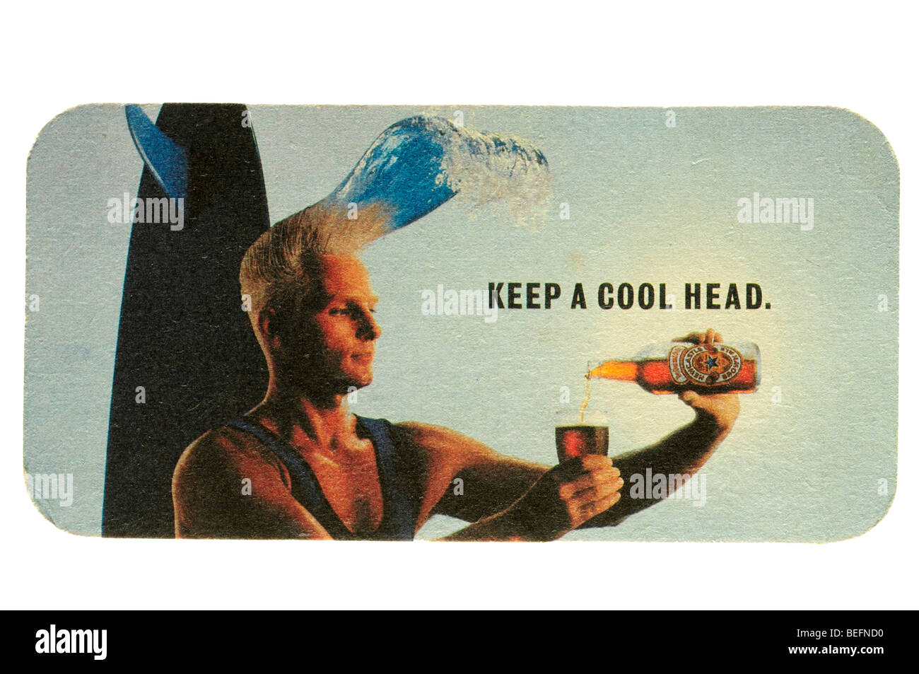 keep a cool head newcastle brown ale - Stock Image