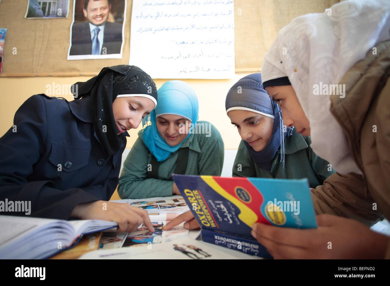 Students at english class. Madaba , Jordan - Stock Image
