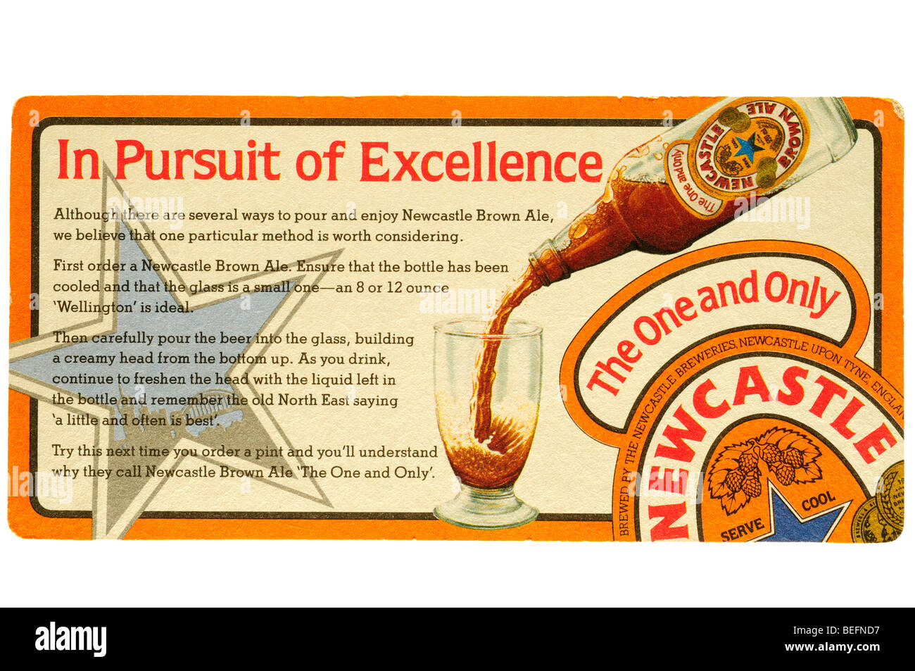 in persuit of excellence the one and only newcastle brown ale - Stock Image