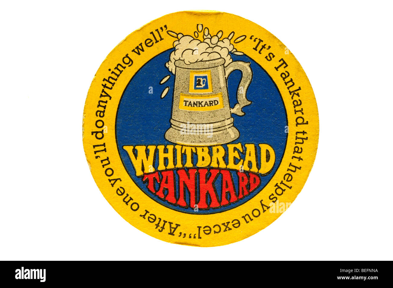 whitbread tankard its tankard that helps you excel after one youll do anything well - Stock Image