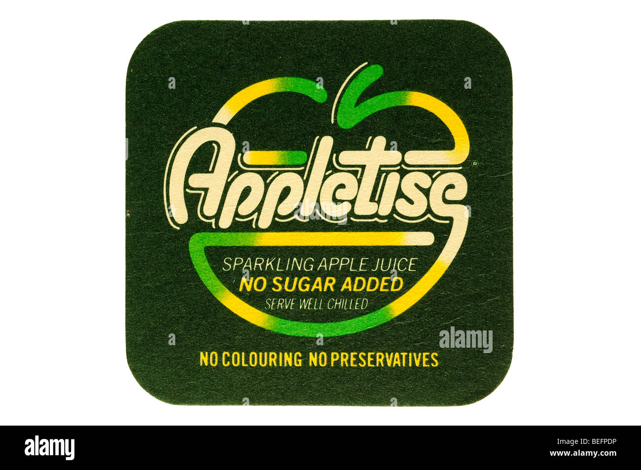 appletise sparkling apple juice no sugar added serve well chilled no colouring no preservatives - Stock Image