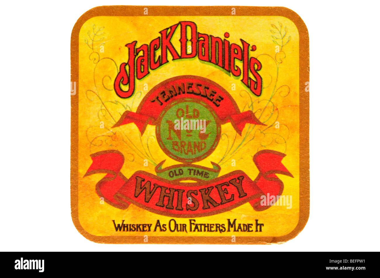 jack daniels old no 7 brand old time tennessee whiskey whiskey as our fathers made it - Stock Image