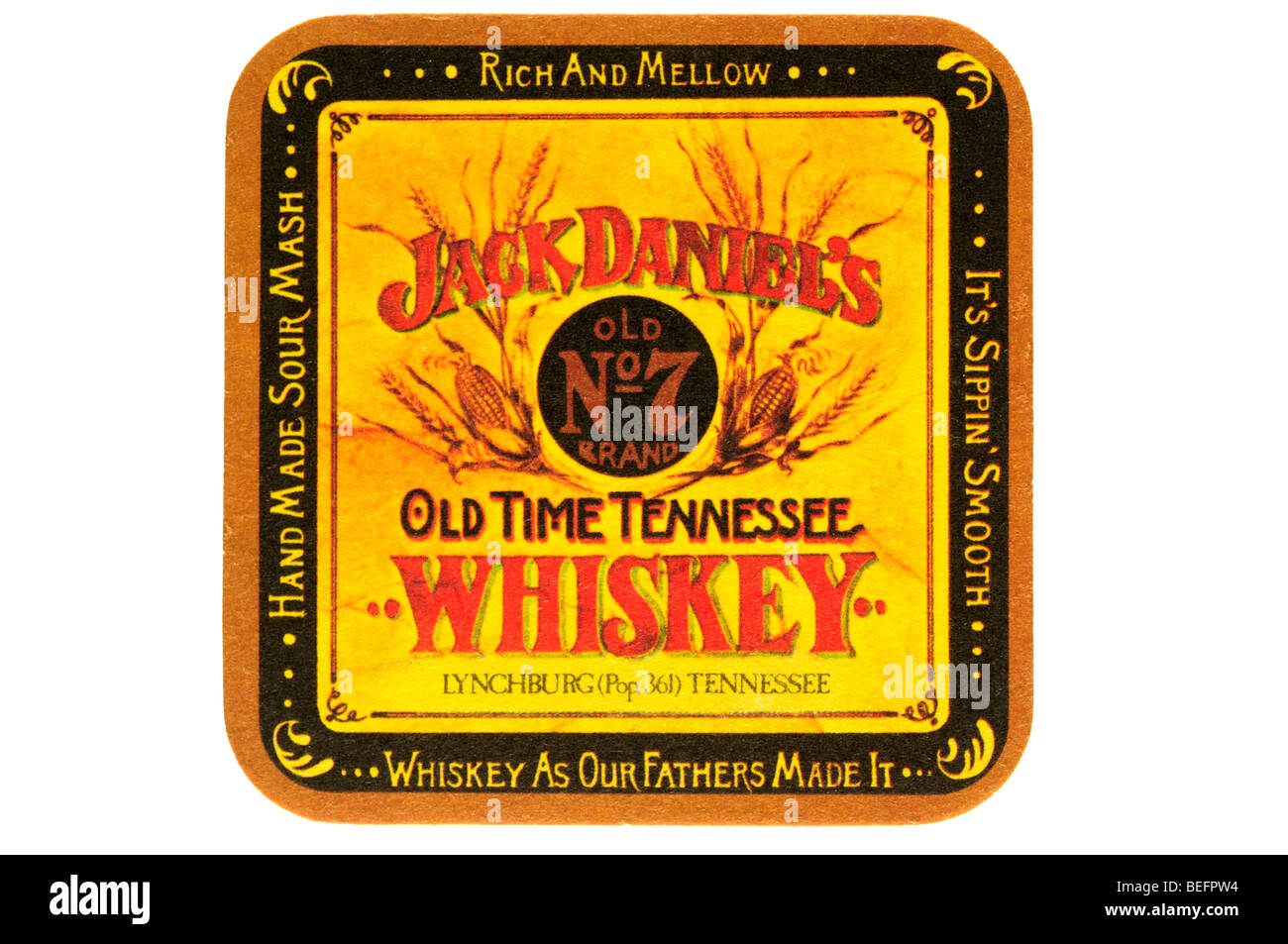 jack daniels old no 7 brand old time tennessee whiskey lynchburg pop 361 tennessee whiskey as our fathers made it - Stock Image