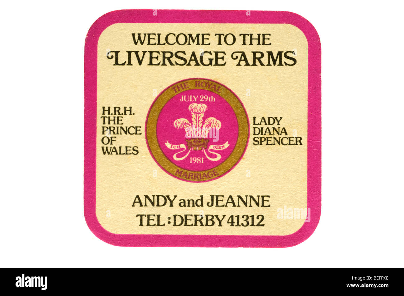 welcome to the liversage arms h r h the prince of wales lady diana spencer andy and jeanne tel derby 41312 the royal - Stock Image