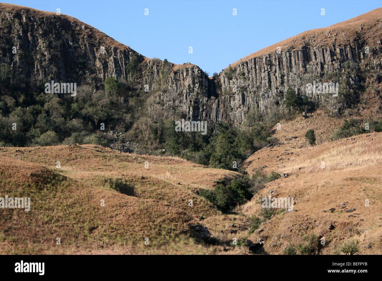 Basalt Columns In The Drakensberg Mountains, South Africa Stock Photo