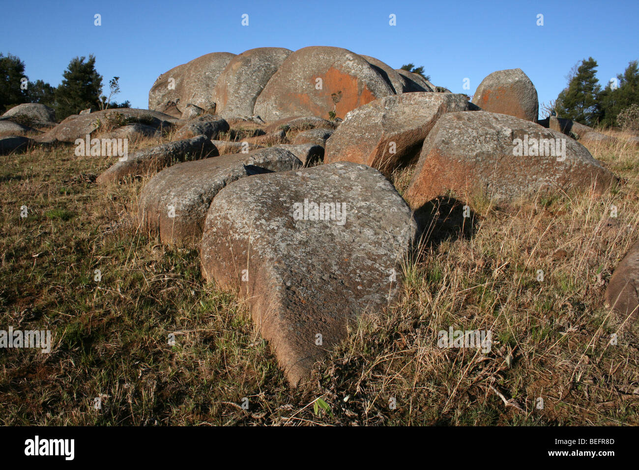 Lochiel Granite Boulders And Kopje In Malolotja National Park, Swaziland, Southern Africa - Stock Image