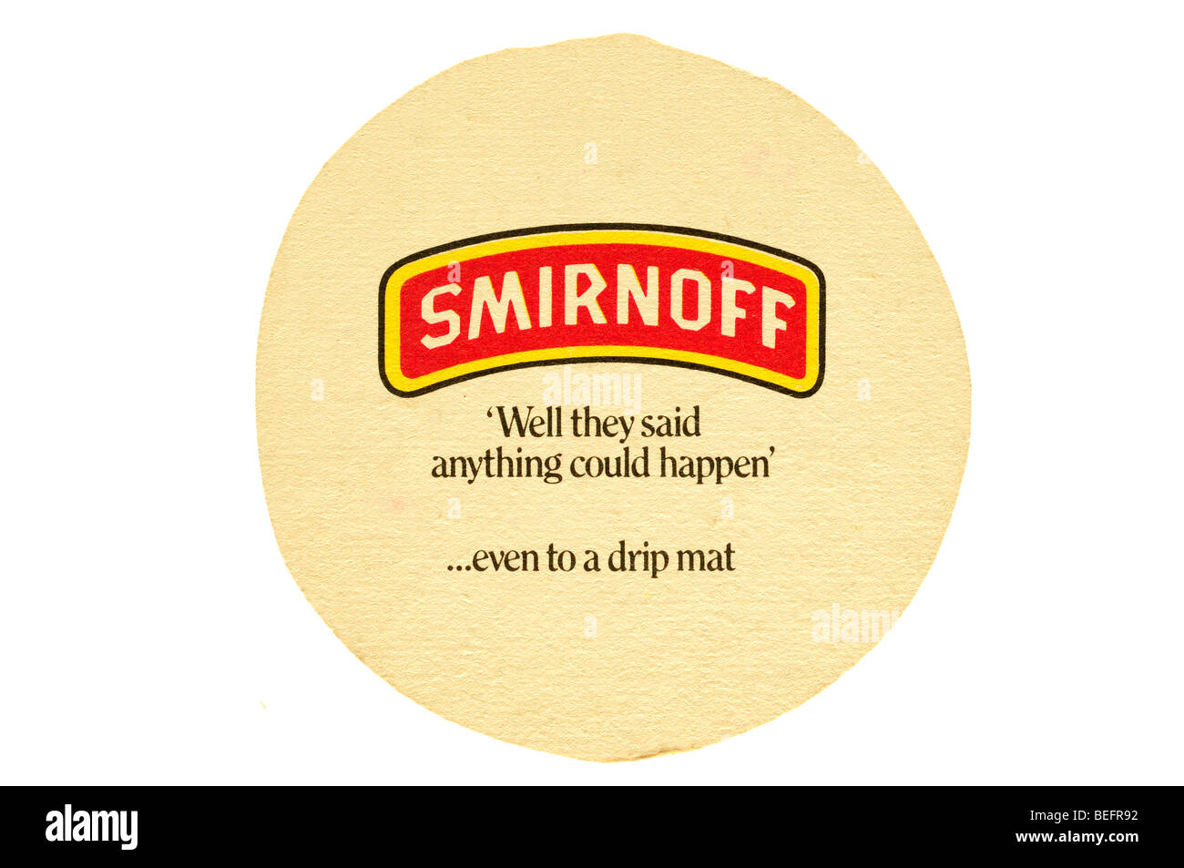 smirnoff well they said anything could happen even to a drip mat - Stock Image