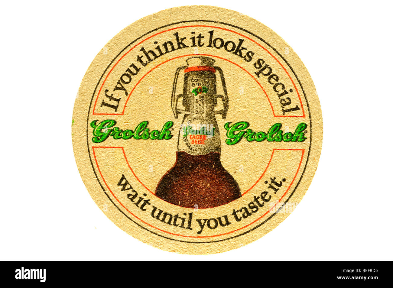 if you think it looks special wait until you taste it grolsch Stock Photo