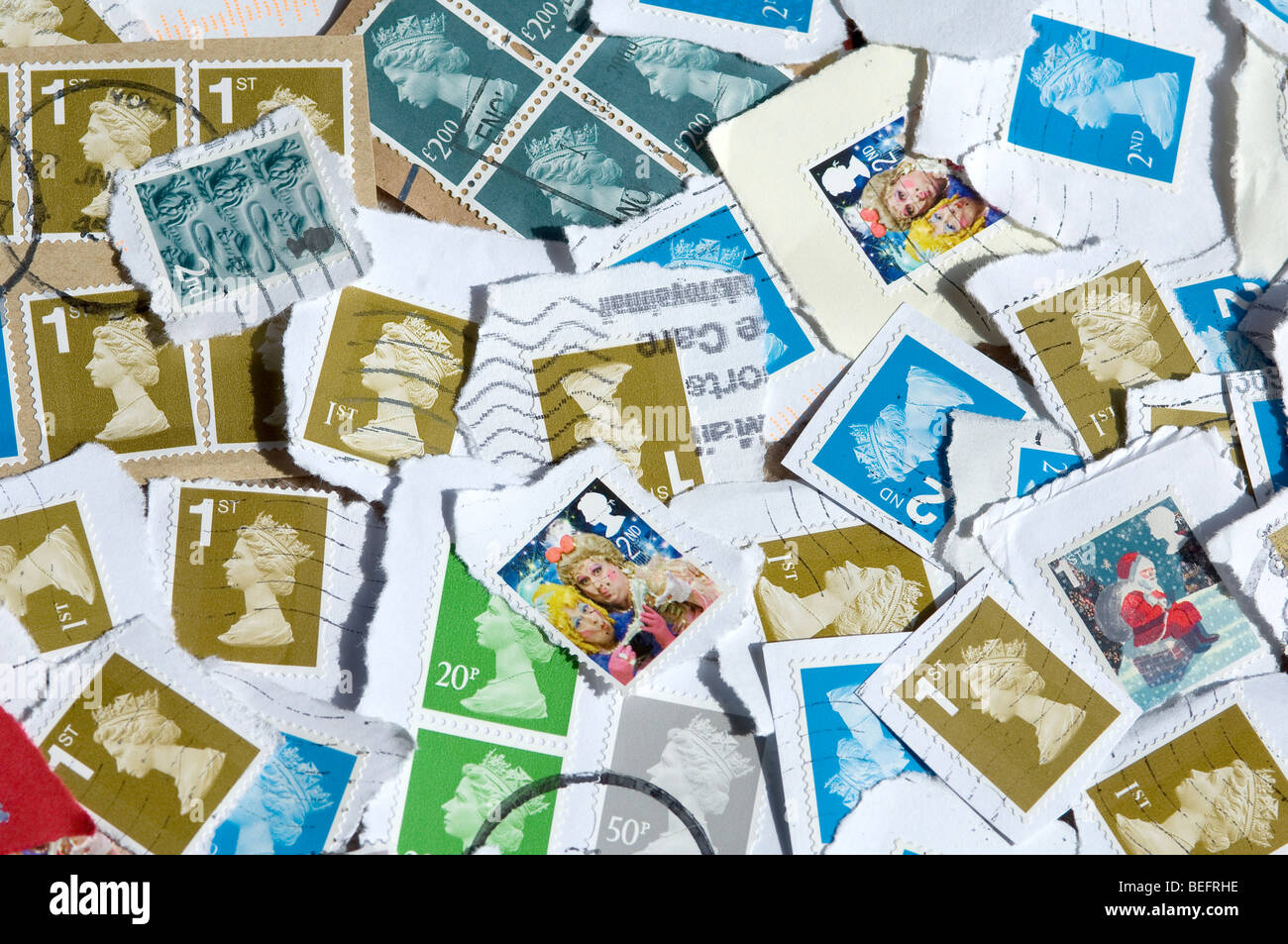 Collection of Franked British Stamps - Stock Image