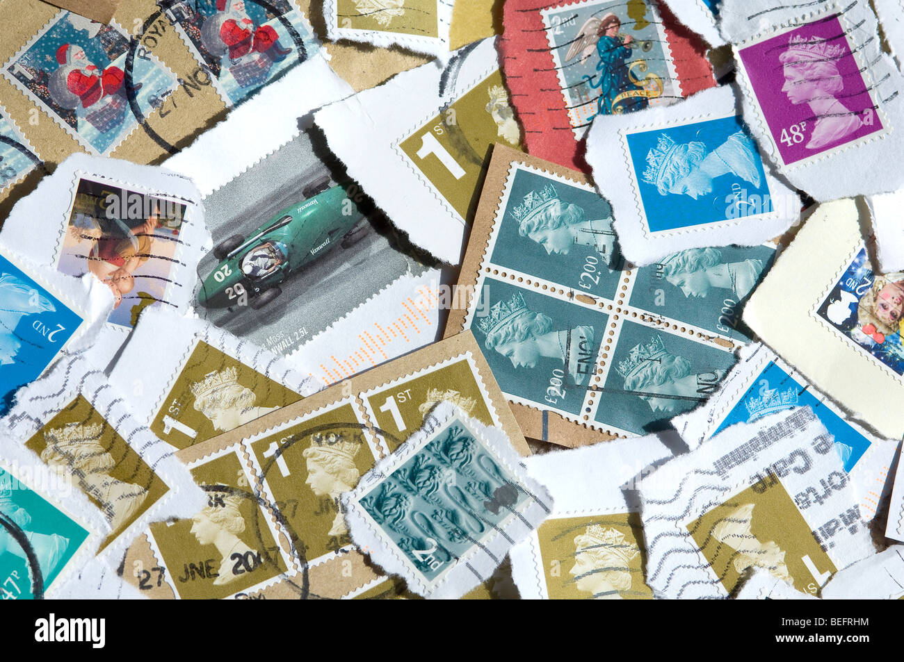 Used British stamps - Stock Image