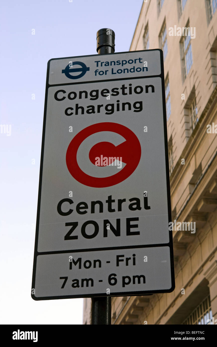 Congestion Charging sign in London Stock Photo