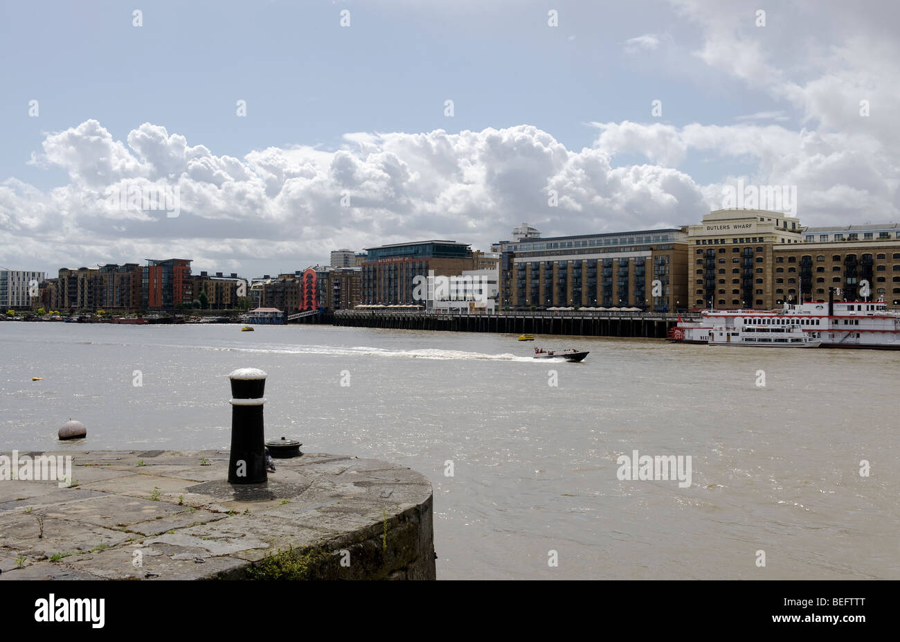 Butler's Wharf warehouse complex River Thames London - Stock Image