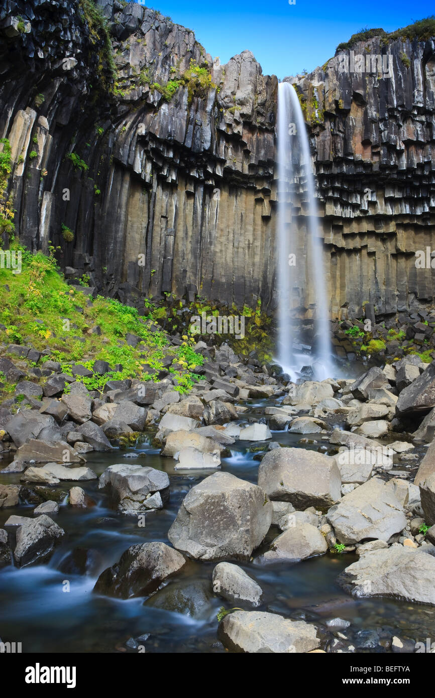 Svartifoss Waterfall, Skaftafell National Park, Iceland - Stock Image
