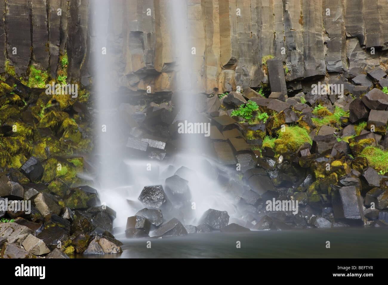 Svartifoss Waterfall, Skaftafell National Park, Iceland - Stock Image