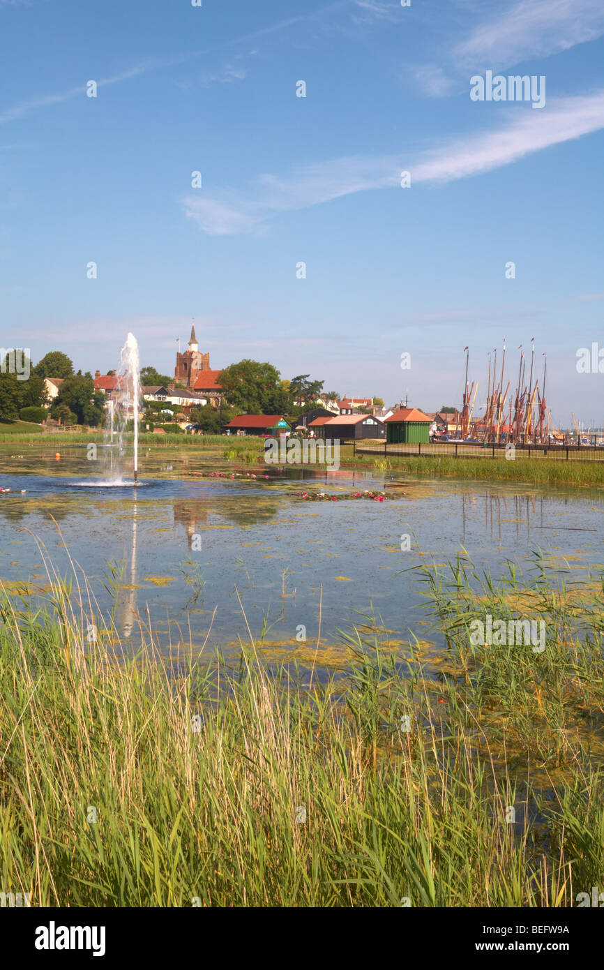 Great Britain England Essex Maldon Promenade and Hythe Quay with lake in foreground - Stock Image
