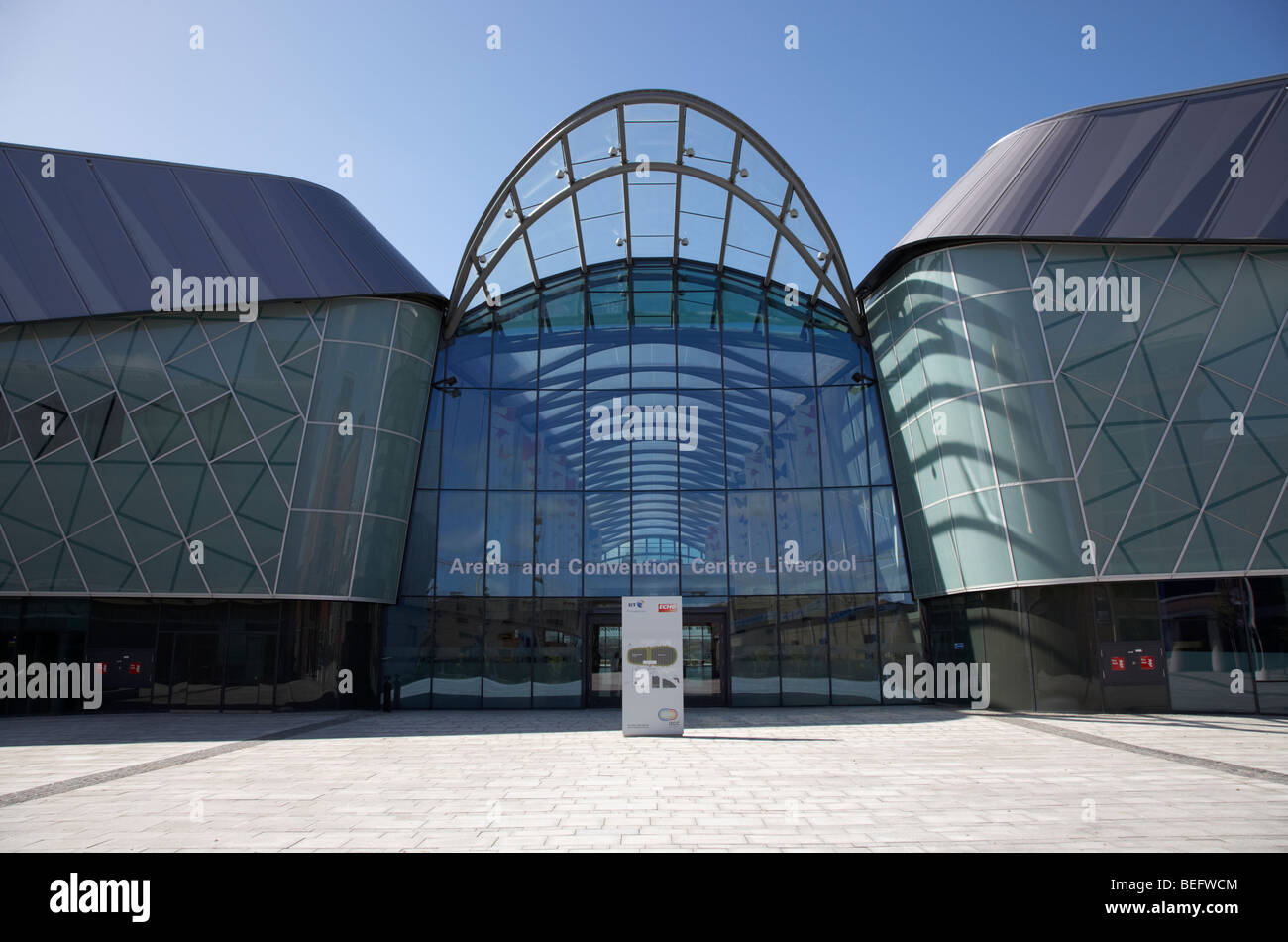 entrance to liverpool echo arena and bt convention centre liverpool city center merseyside england uk - Stock Image