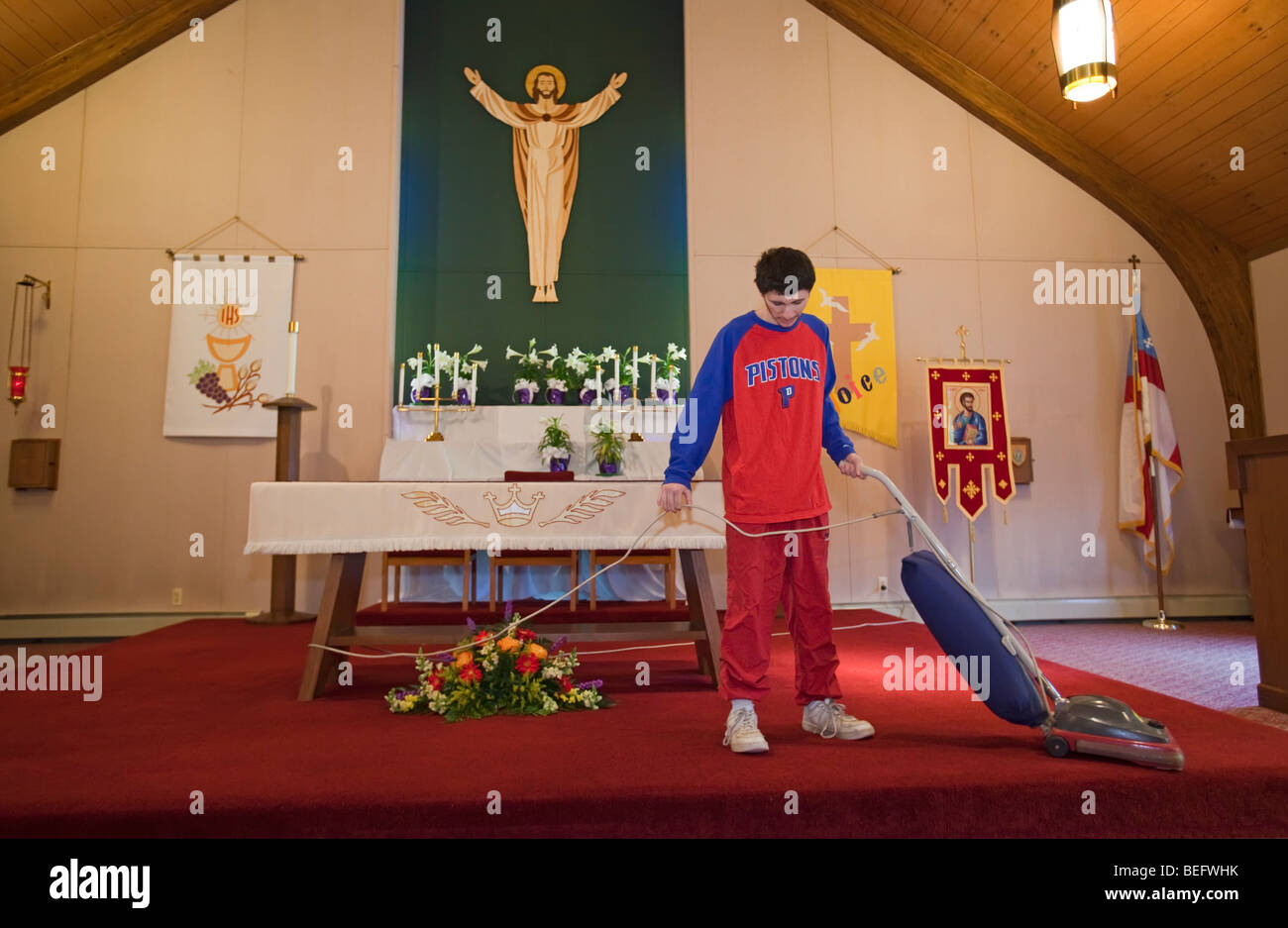 Developmentally Disabled Students Clean Church in Job Training Program - Stock Image