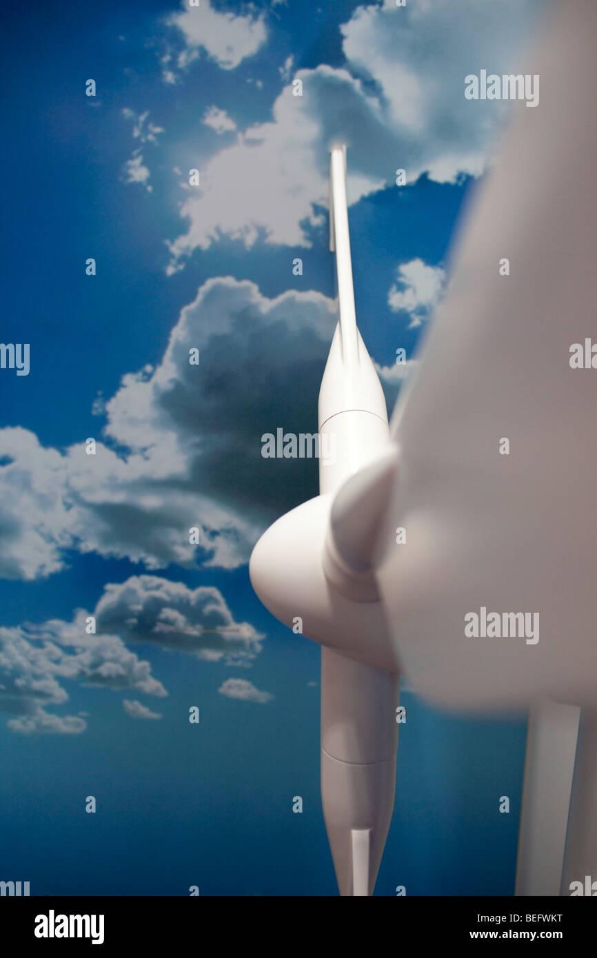 Wind wheel model in front of blue sky - Stock Image