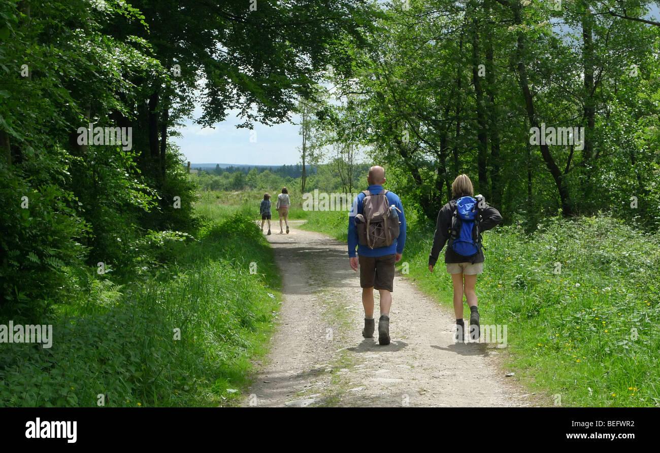 Family goes hiking - Stock Image