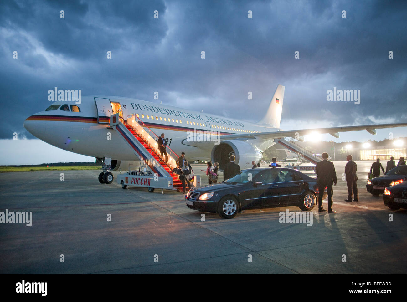 Arrival of a german delegation at the airport Wnukowo II in Moscow . - Stock Image