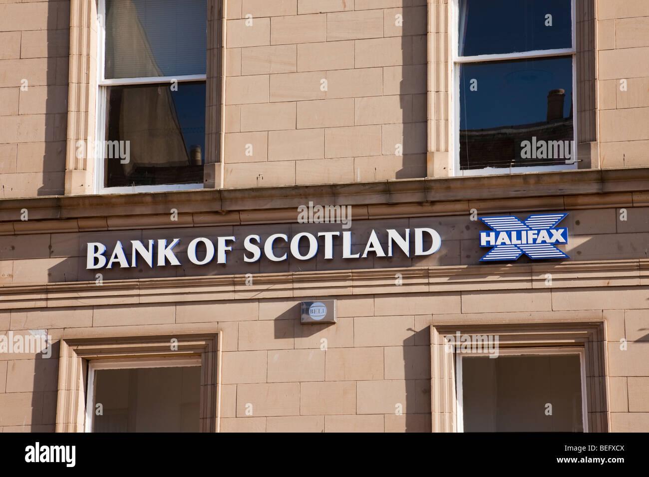Bank of Scotland and Halifax building society signs. England, UK - Stock Image