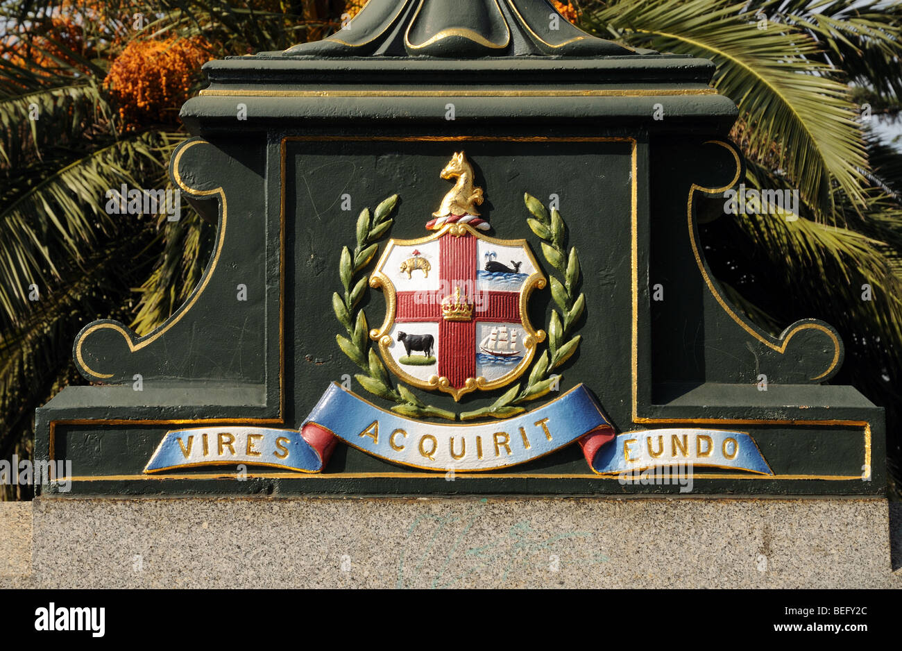 Cast iron coat of arms on Princes Bridge over Yarra River Melbourne Australia - Stock Image
