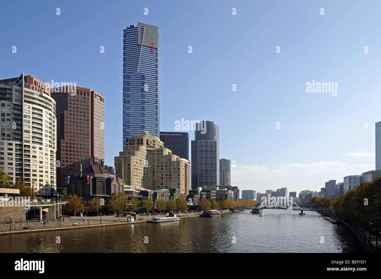 Yarra River Southbank promenade high rise skyscraper buildings seen from Princes Bridge Melbourne Australia Stock Photo