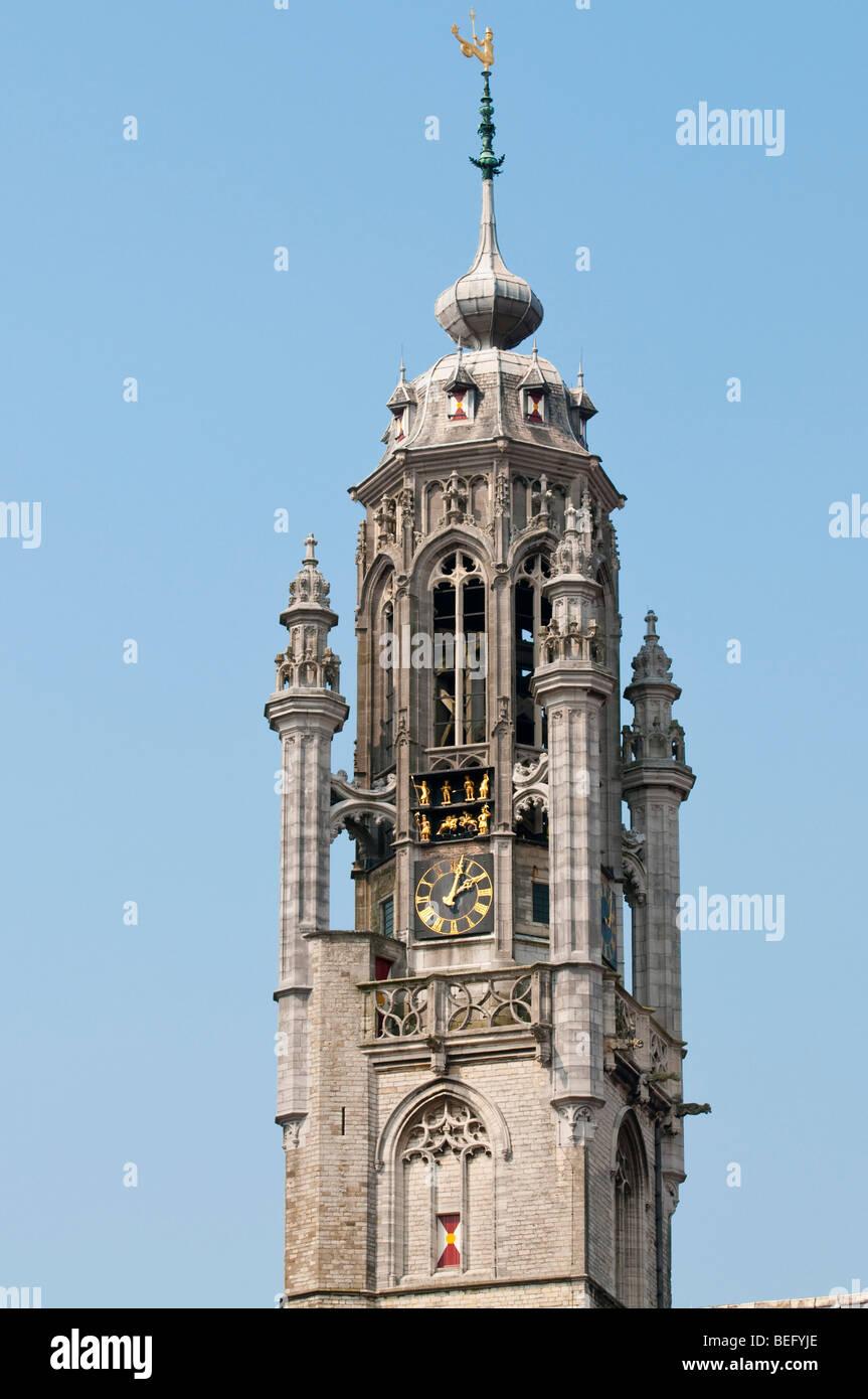 The tower of the late-Gothic town hall of Middelburg. - Stock Image