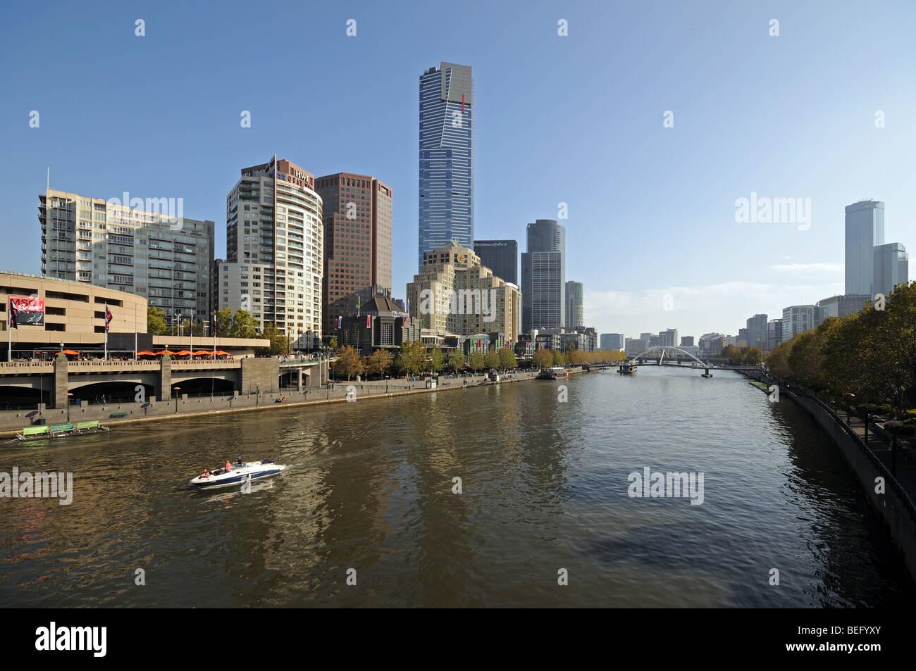 Yarra River Southbank promenade high rise skyscraper buildings seen from Princes Bridge Melbourne Australia Stock Photo