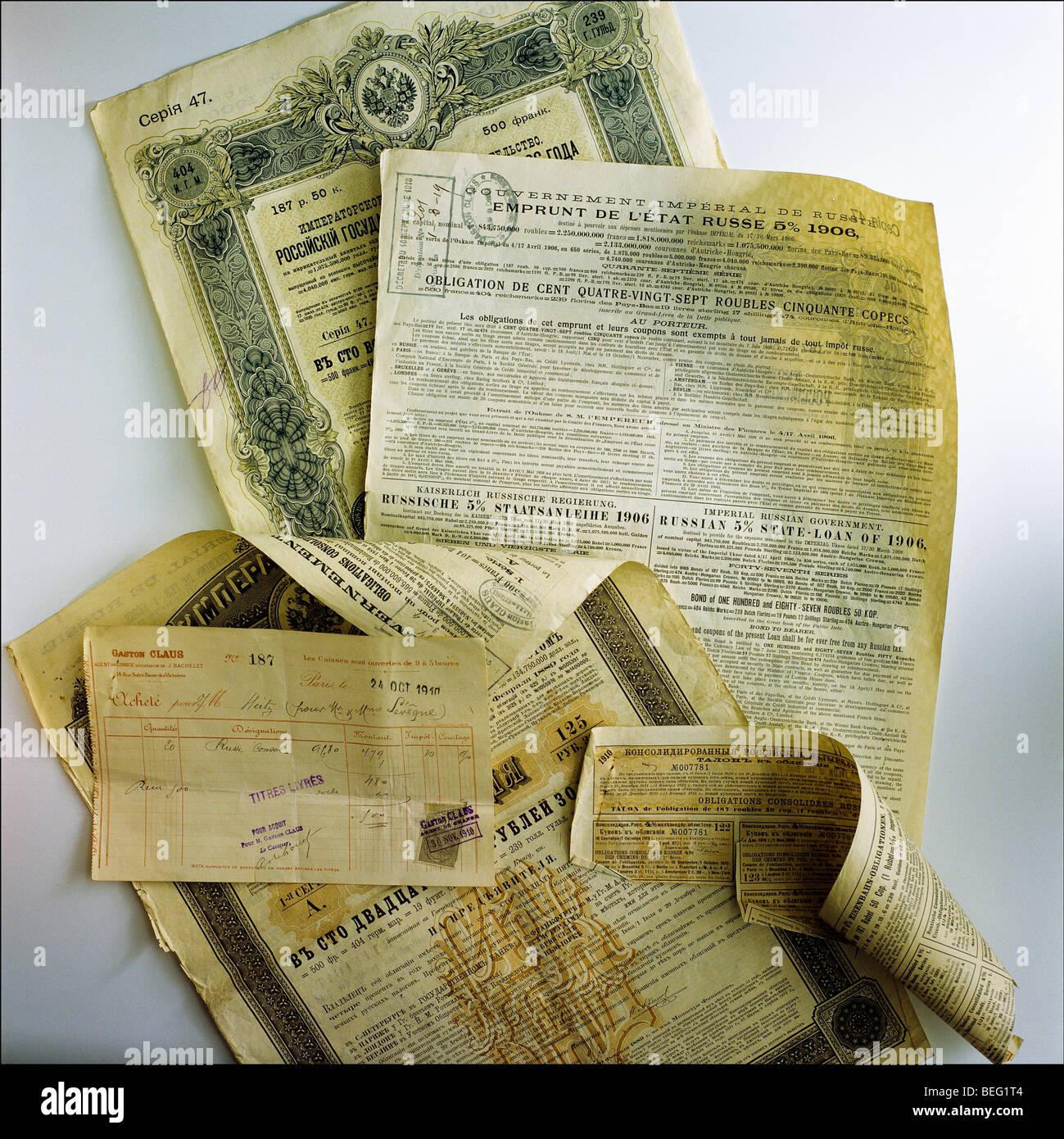 Russian 5 % state loan of 1906 bonds - Stock Image