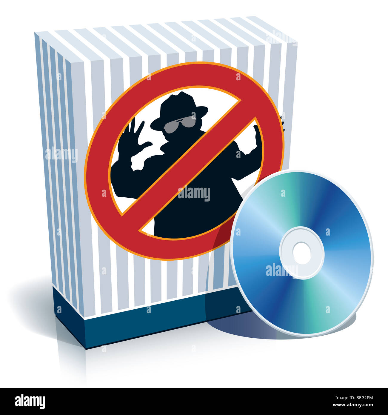 Blue blank 3d box with anti-spy sign and CD. - Stock Image