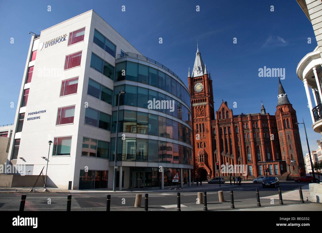 university of liverpool foundation building and old redbrick victoria building liverpool merseyside england uk - Stock Image