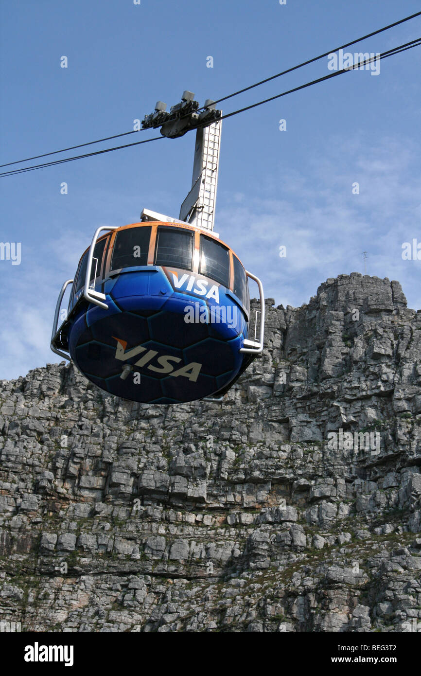 Cable Car Ascends Table Mountain, Cape Town, South Africa Stock Photo