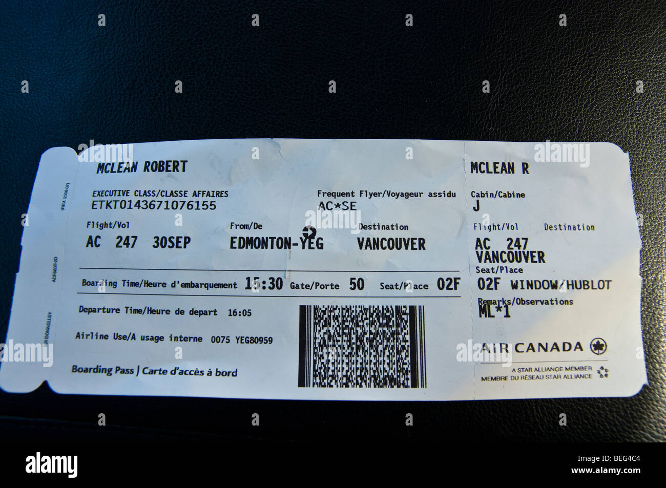 AIR CANADA PLANE TICKET Stock Photo