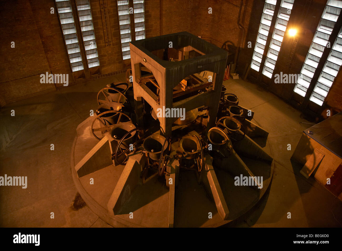 the worlds highest and heaviest peal of bells inside the belltower of the Cathedral Church of Christ Liverpool Anglican - Stock Image
