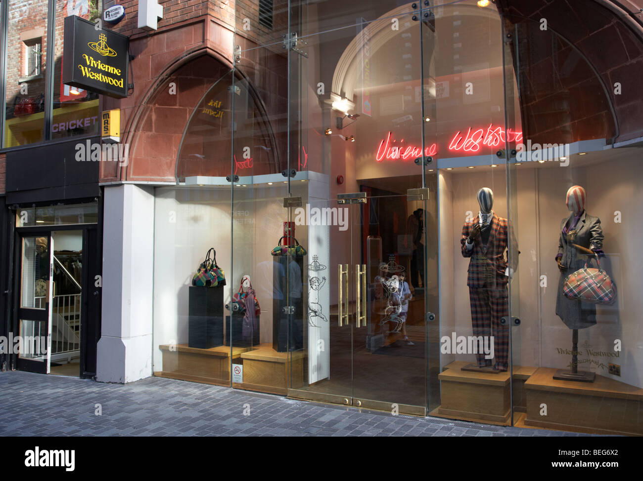 the vivienne westwood designer clothing store in mathew street in liverpool city centre - Stock Image