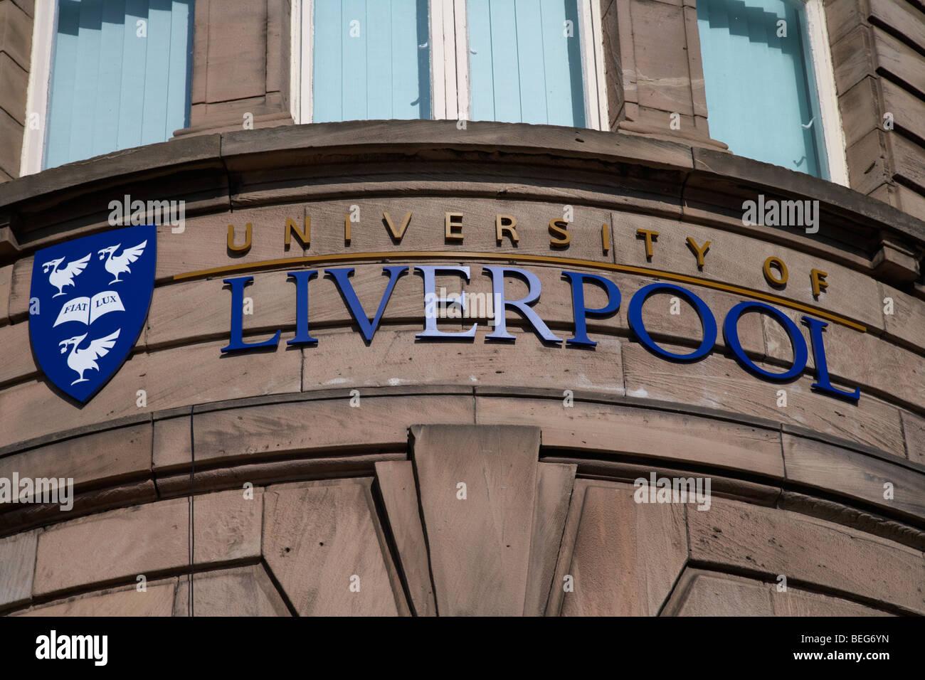 logo of the university of liverpool on a university building merseyside england uk - Stock Image