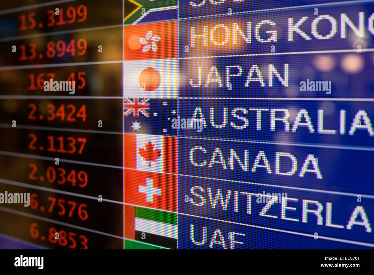 Money retailer Travelex foreign currency rates displayed at
