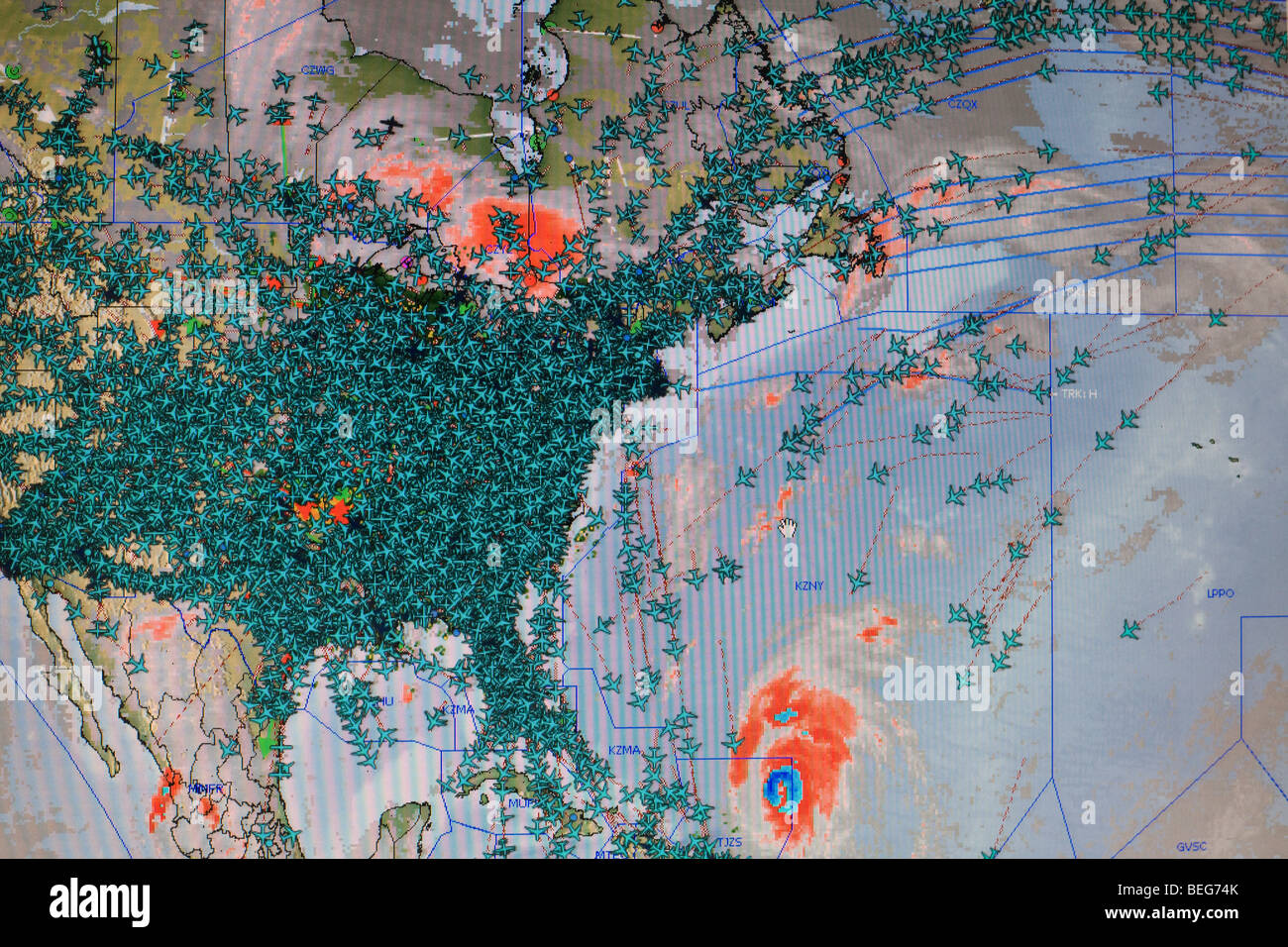 Real-time flight tracking over US airspace seen at the British Airways' operations centre at their Waterside - Stock Image