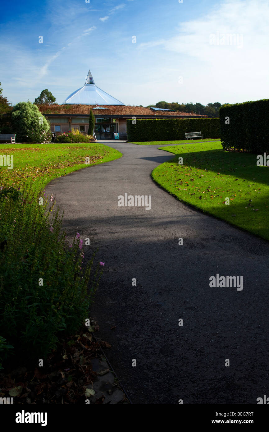 Entrance to the visitor centre at Ness Botanical Gardens run by Liverpool University, Ness, England, UK - Stock Image