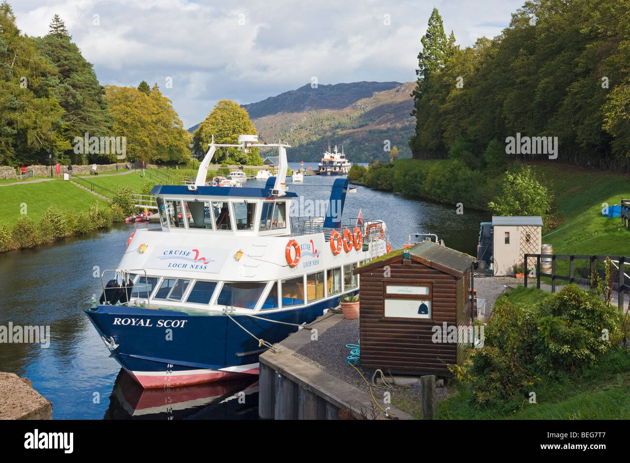Cruise vessel the Royal Scot moored at Fort Augustus on the Caledonian Canal in Scotland awaiting the next group - Stock Image