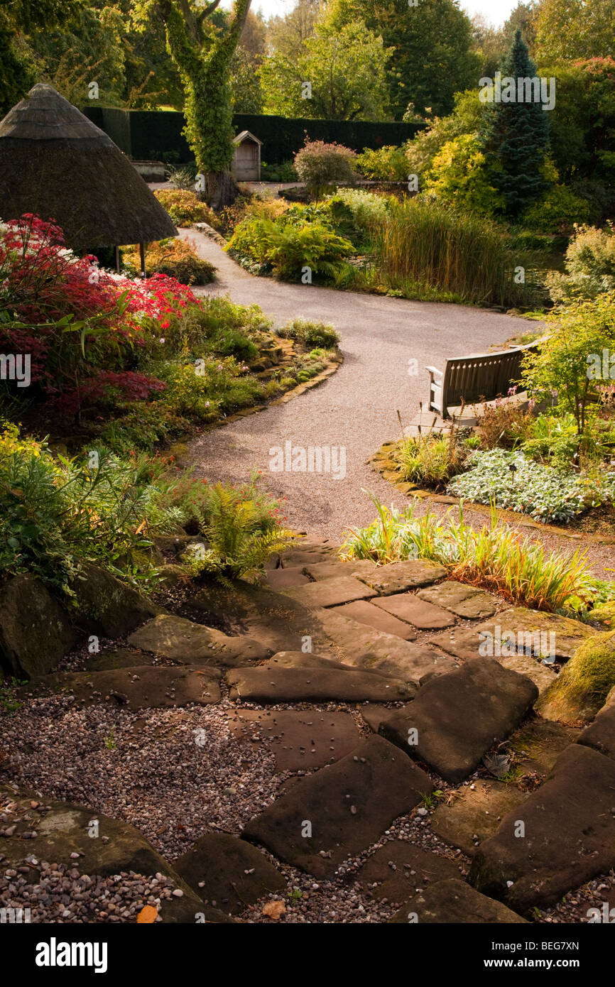 A meandering gravel path through plants at Ness Botanical Gardens in the village of Ness in Cheshire, United Kingdom - Stock Image
