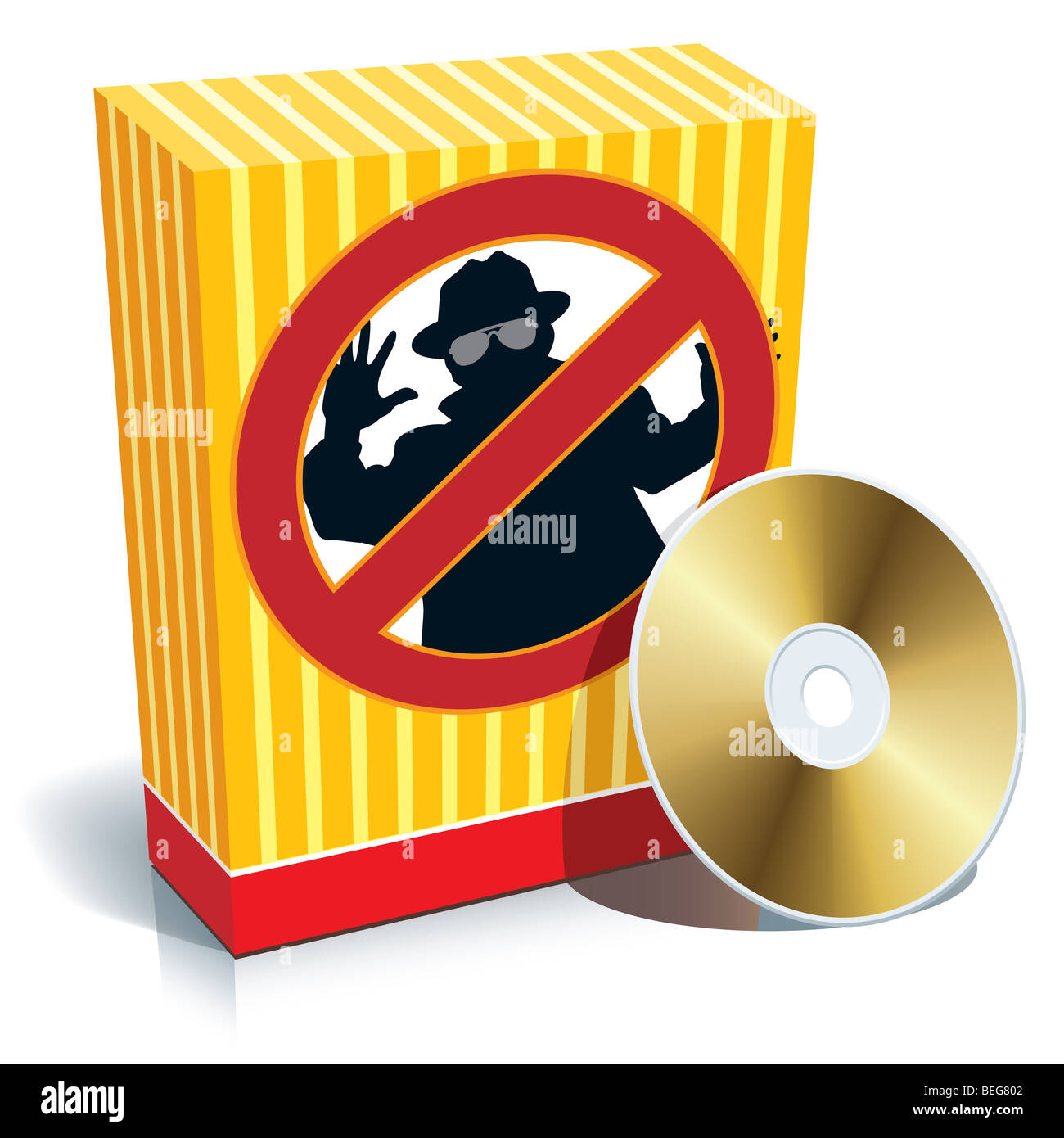 Blank 3d box with anti-spy sign and CD. - Stock Image