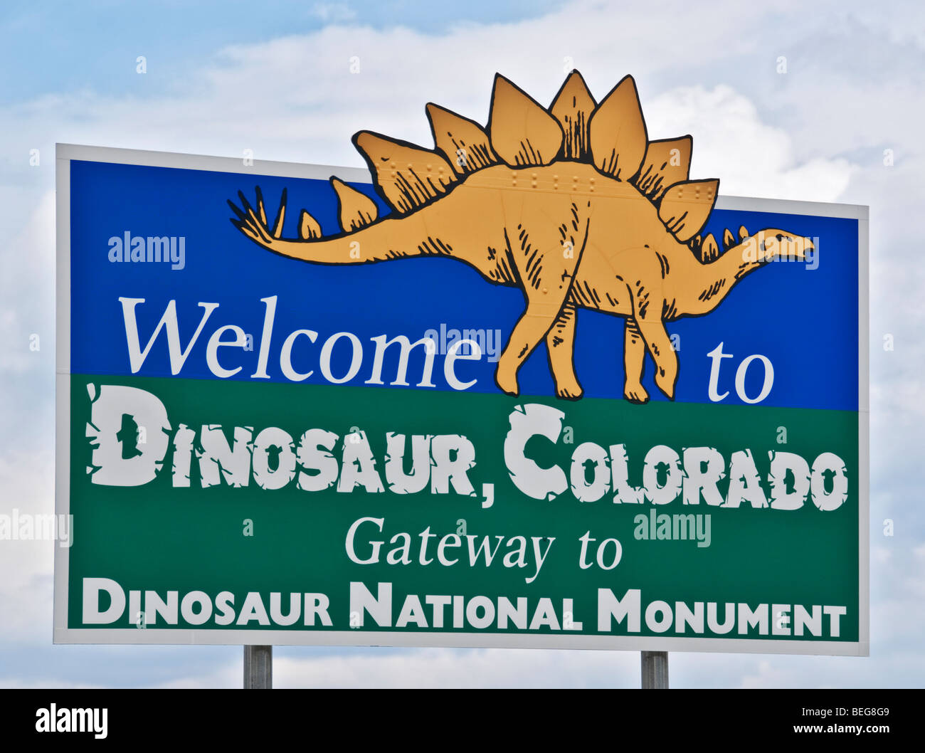 Colorado Dinosaur welcome sign Gateway to Dinosaur National Monument - Stock Image