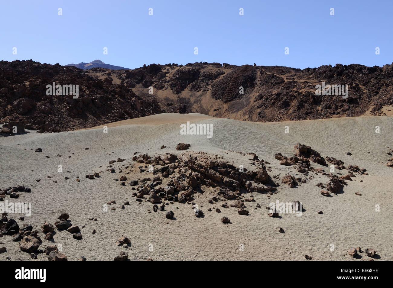 Volcanic Landscape in Teide National Park, Tenerife Spain - Stock Image