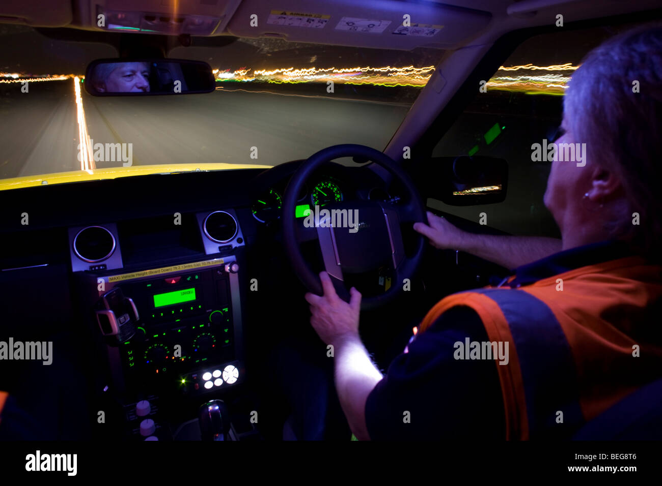 Airside Operations Safety Unit (AOSU) runway centre-line night drive inspection at Heathrow Airport. - Stock Image