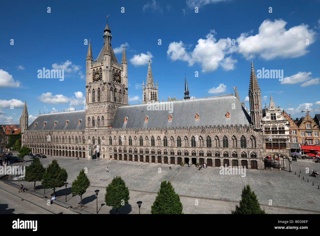 The Cloth Halls in the Grote Markt Albert 1. Stock Photo